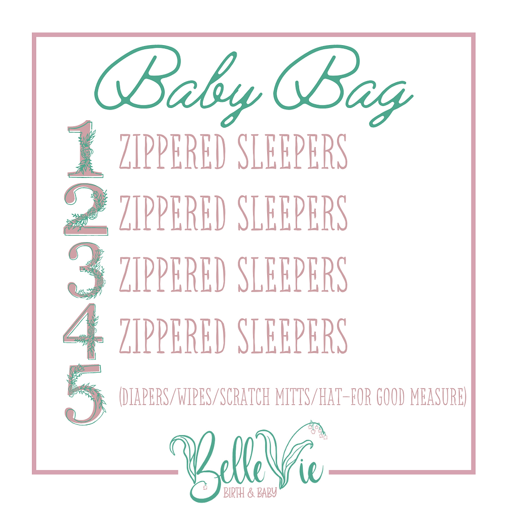 Pack zippered sleepers, diapers, wipes, scratch mittens, and a hat for baby in your hospital birth bag