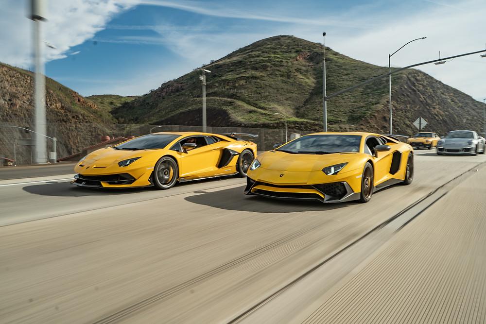 Yellow Lamborghini Aventador SV and SVJ