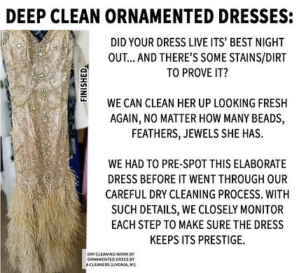 Deep Clean Ornamented Dresses by A Cleaners Livonia Michigan Elaborate detailed gown cleaning