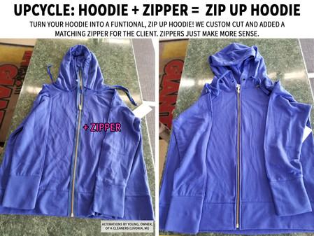 Upcycle: hoodie + zipper =  zip up hoodie