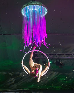 Jellyfish aerial hoop, under the sea themed events, Aerial hoop, aerialist, LED acts, LED prop, Themed events, Jelly fish aerial