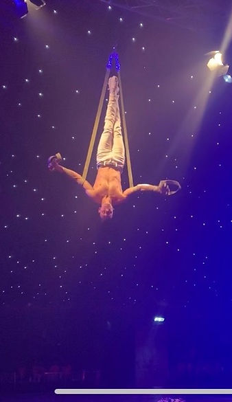 aerial straps act, Circus, Male Aerialis