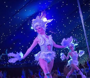 Winter bird dancer, circus, events, Winter circus, corporate eventsts