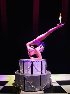Contortion Cake, circus prop,birthday ideas, burlesque cake act, contortionist, contortion with fire, Delia Du Sol, LED cake prop
