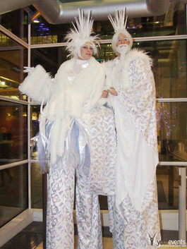 Ice king & queen stilts.JPG