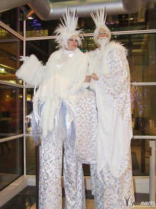 Ice king & queen stilts.JPG