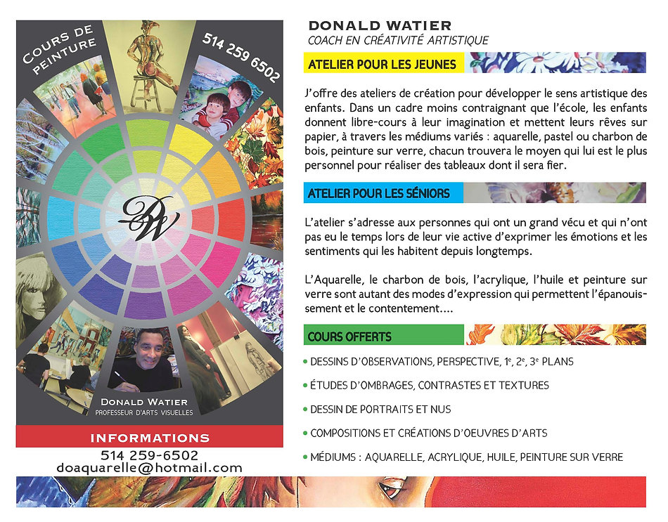 Affiche promo Donald Watier artiste peintre, cours