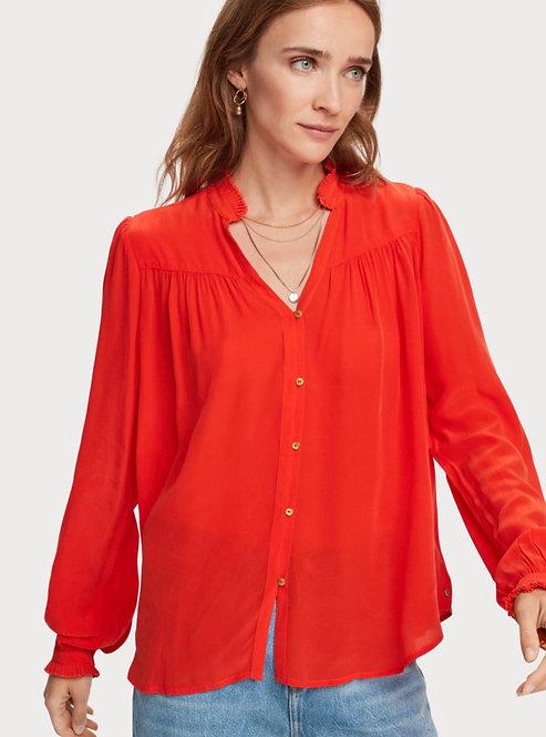 SCOTCHANDSODA Chemise à manches longues féminine avec plis