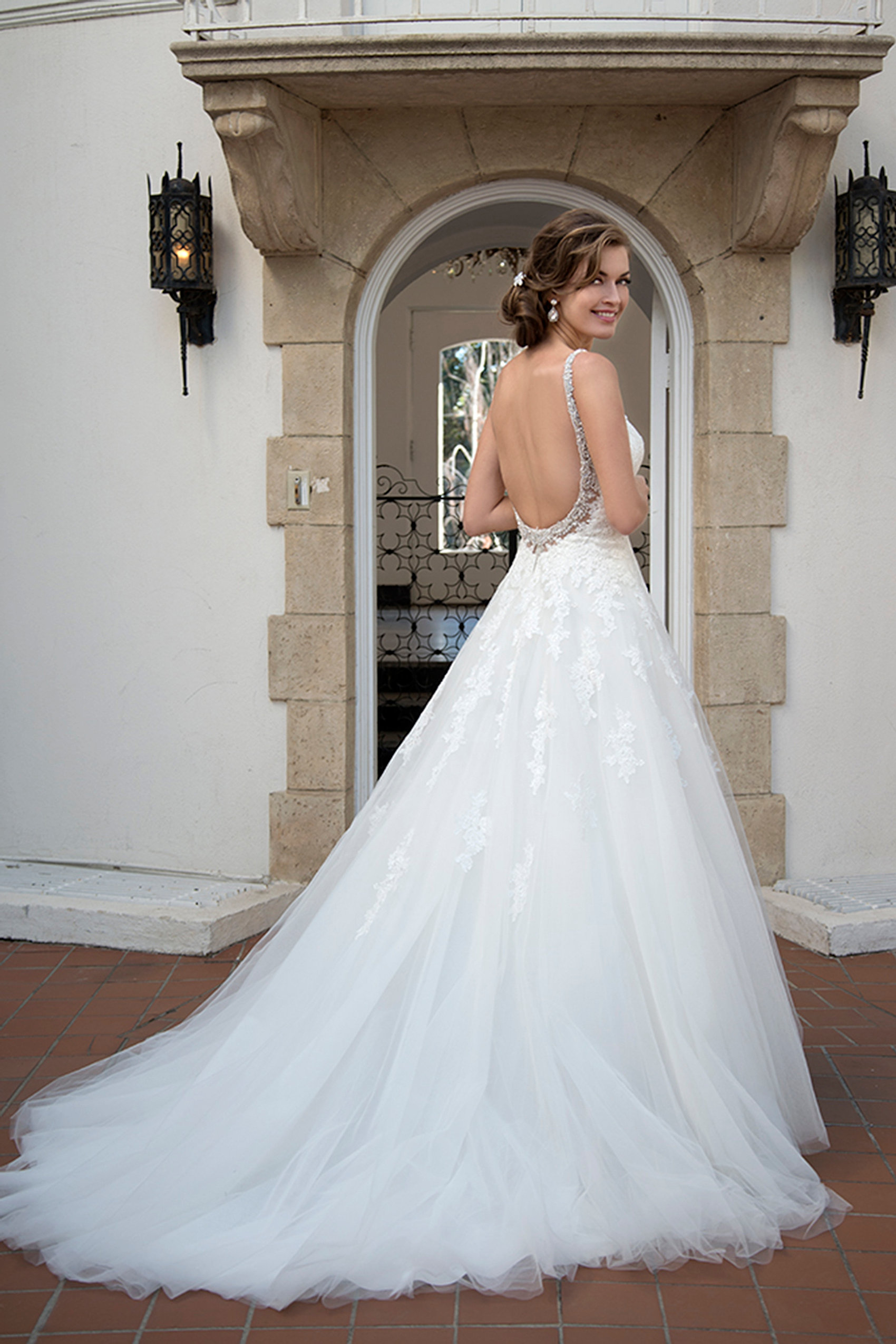 Stunning Lace And Tulle Gown With Full Skirt Bodice Embellished Spaghetti Straps Going Into Low Back Detail To