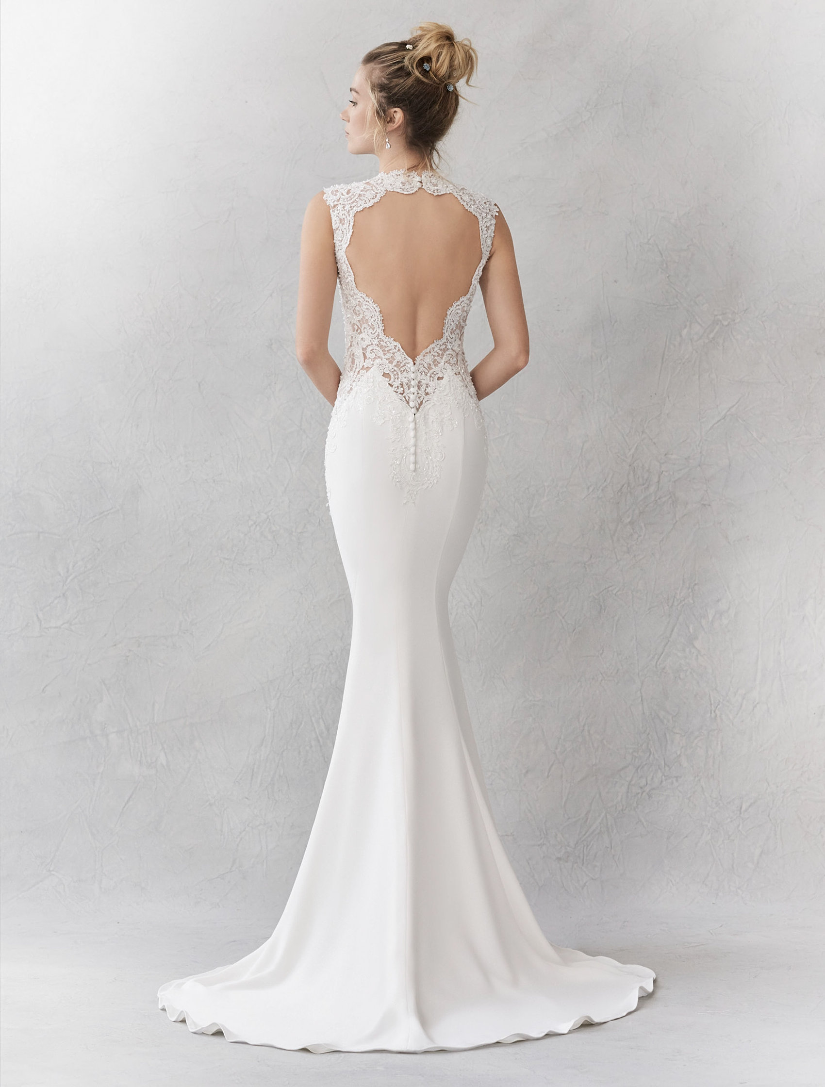 Soft Crepe Gown With Illusion Panels Beaded Straps And Statement Back