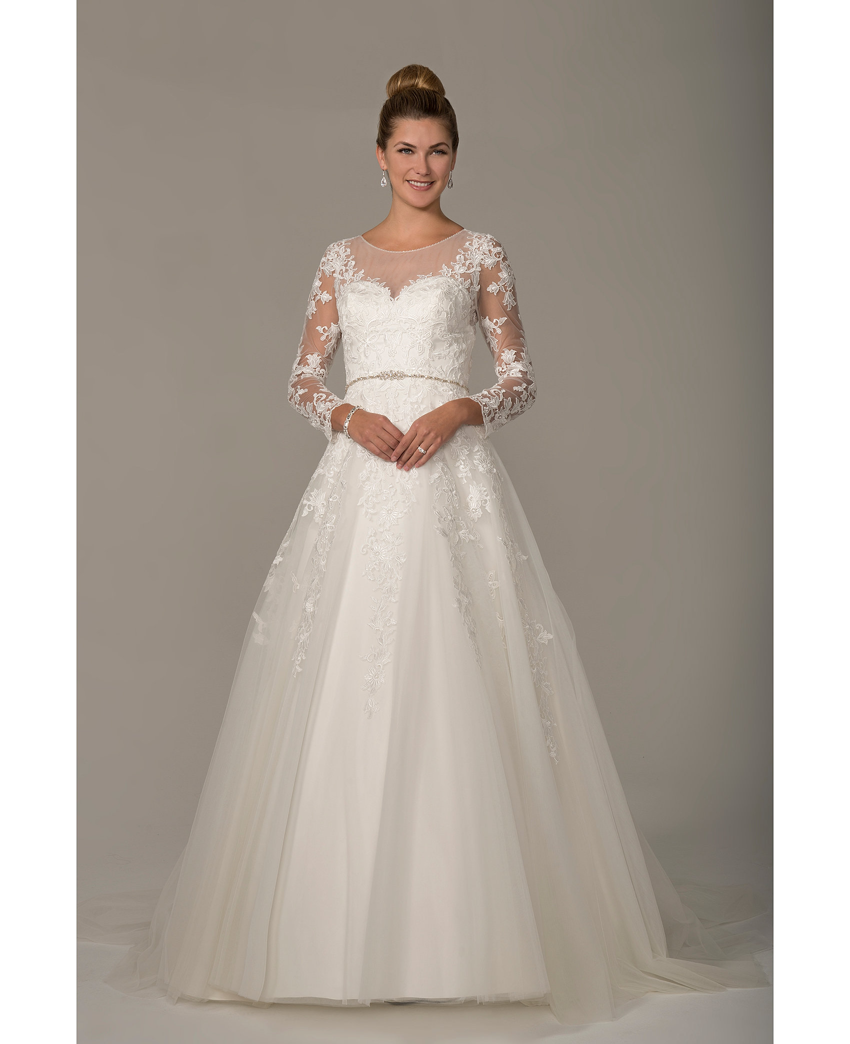 A Line Lace Gown With Sweetheart Neck Sleeves And Waistband Detail