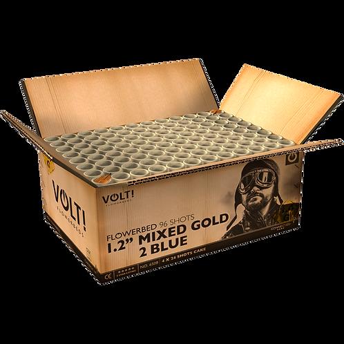 1,2'' Mixed Gold 2 Blue Flowerbed - 100 Schuss Verbundfeuerwerk
