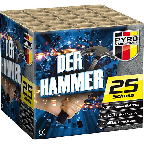 Der Hammer - 25 Schuss 500NEM Feuerwerksbatterie
