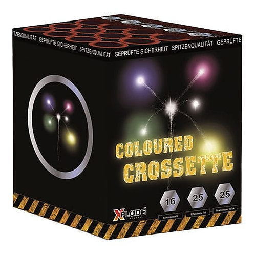 Coloured Crossette - 16 Schuss Feuerwerksbatterie