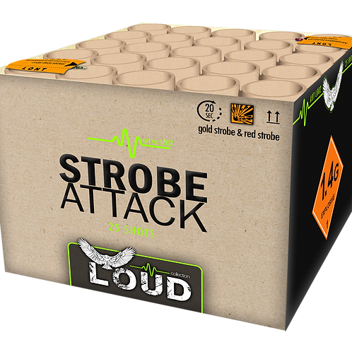 Strobe Attack - 25 Schuss Feuerwerksbatterie KATAN