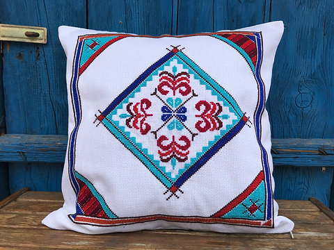 Ottoman Geometric Design Cross Stitch on Cotton Pillow Cove