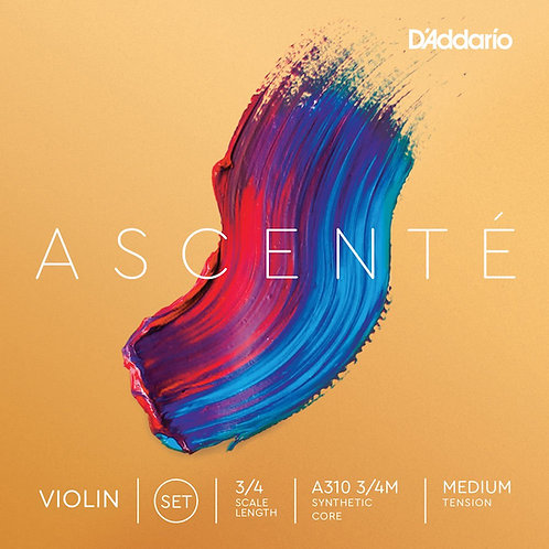 D'Addario Ascent Violin String Set 3/4 Scale Med Tension