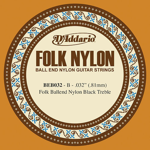 D'Addario BEB032 Folk Nylon Guitar SGL String Black Nylon Ball End .032