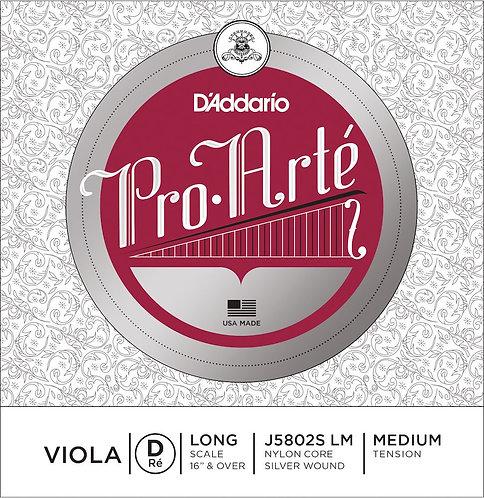 D'Addario Pro-Arte Viola SGL Silver Wound D String Long Scale Med Tension