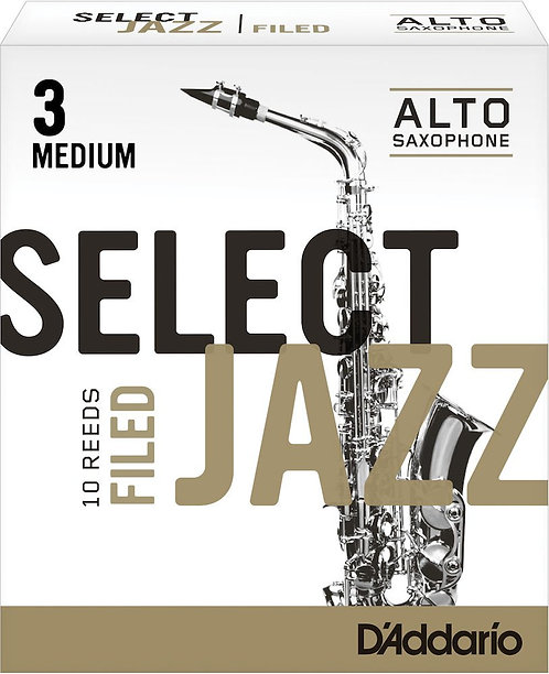 D'Addario Select Jazz Filed Alto Saxophone Reeds Strength 3 Med 10-pack