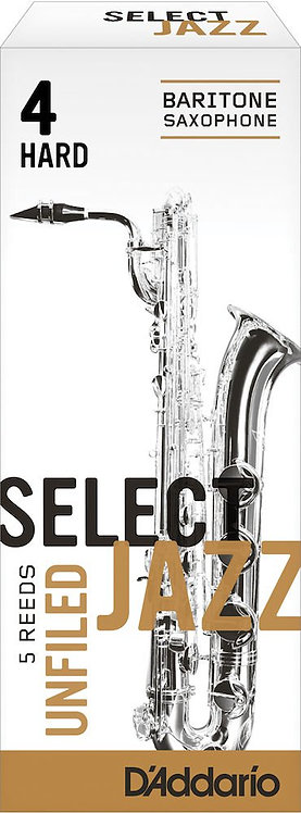 D'Addario Select Jazz Unfiled Baritone Saxophone Reeds Strength 4 Hard 5-pack