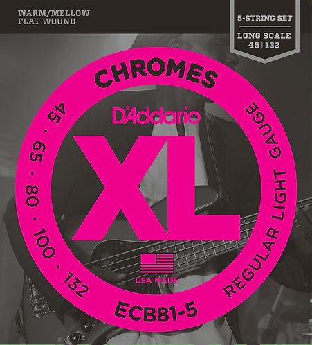 D'Addario ECB81-5 5-String Bass Guitar Strings Light 45-132 Long Scale