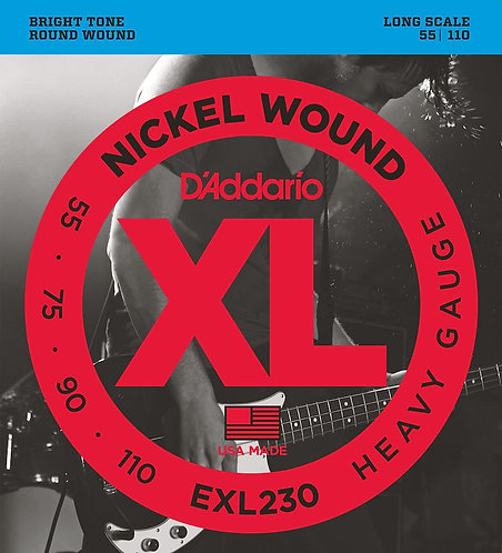 D'Addario EXL230 Nickel Wound Bass Guitar Strings Hvy 55-110 Long Scale