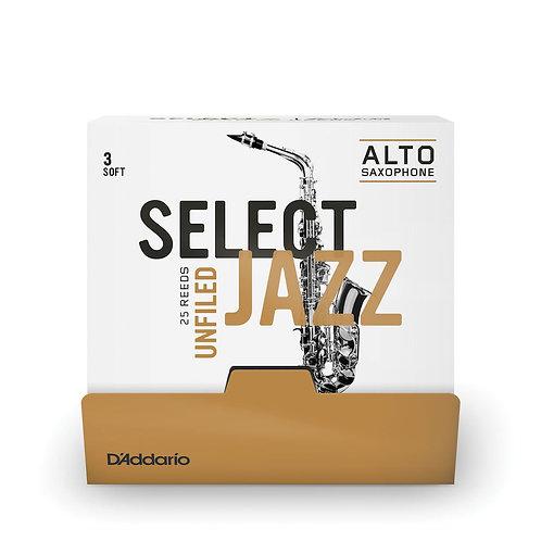 D'Addario Select Jazz Unfiled Alto Saxophone Reeds Strength 3 Soft 25 Box
