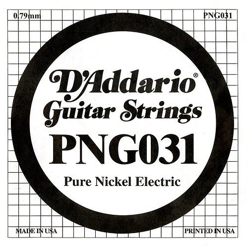 D'Addario PNG031 Pure Nickel Electric Guitar SGL String .031