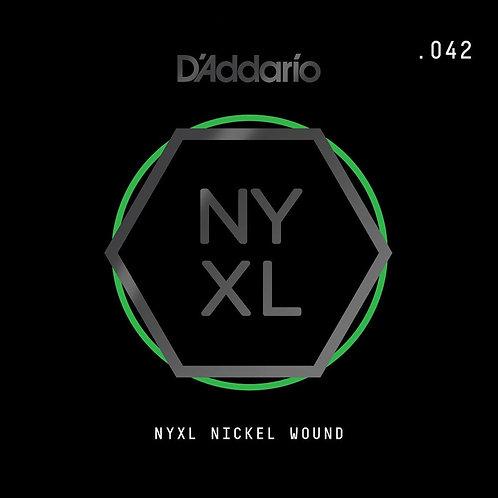 D'Addario NYNW042 NYXL Nickel Wound Electric Guitar SGL String .042