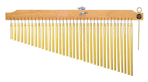 36 Gold Chimes with Natural Finish Wood Bar