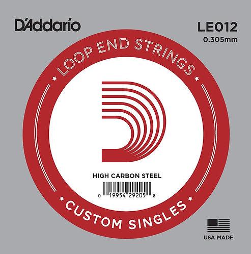 D'Addario LE012 Plain Steel Loop End SGL String .012