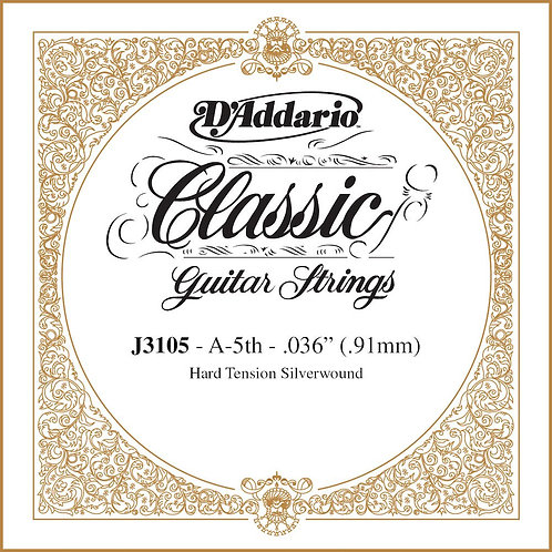D'Addario J3105 Rectified Classical Guitar SGL String Hard Tension Fifth String