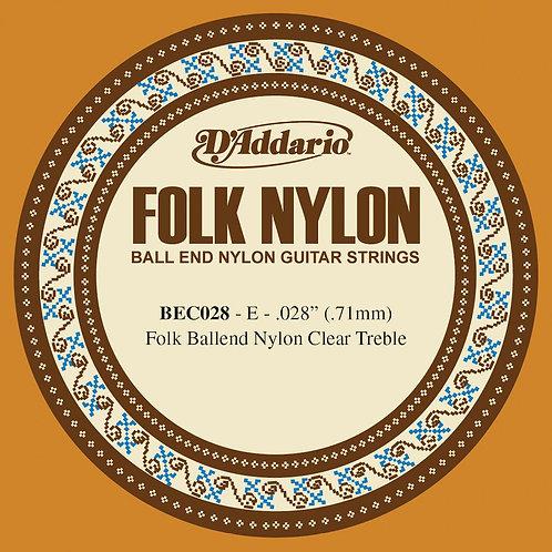 D'Addario BEC028 Folk Nylon Guitar SGL String Clear Nylon Ball End .028
