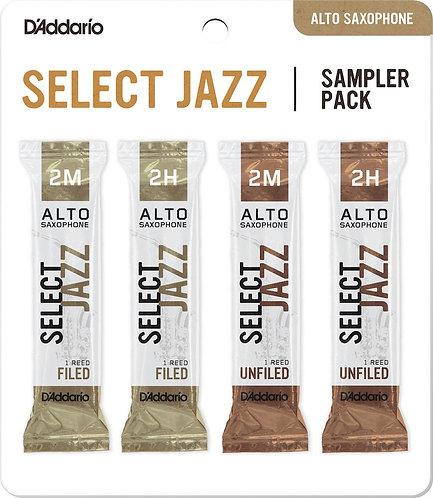 D'Addario Select Jazz Alto Saxophone Reed Sampler Pack 2M/2H