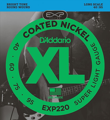 D'Addario EXP220 Coated Bass Guitar Strings Super Light 40-95 Long Scale