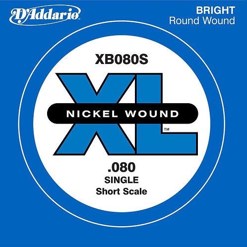 D'Addario XB080S Nickel Wound Bass Guitar SGL String Long Scale .080