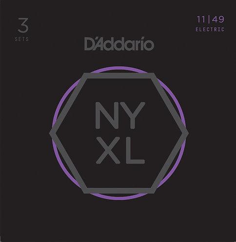 D'Addario NYXL1149-3P Nickel Wound Electric Guitar Strings Med 11-49 3 Sets
