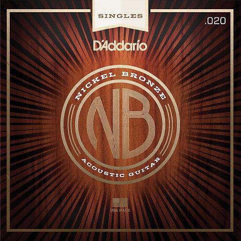 D'Addario NB020 Nickel Bronze Wound Acoustic Guitar SGL String .020
