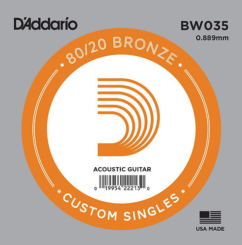 D'Addario BW035 Bronze Wound Acoustic Guitar SGL String .035