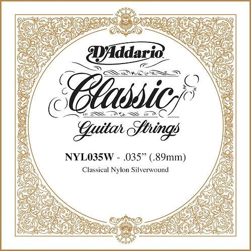 D'Addario NYL035W Silver-plated Copper Classical SGL String .035