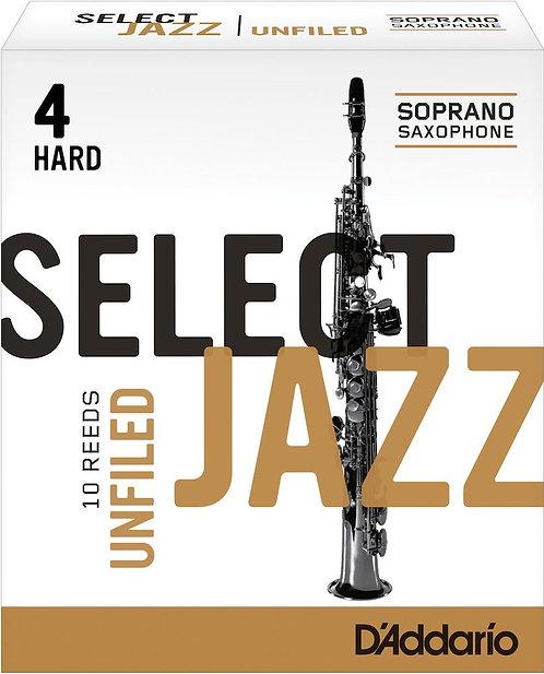 D'Addario Select Jazz Unfiled Soprano Saxophone Reeds Strength 4 Hard 10-pack