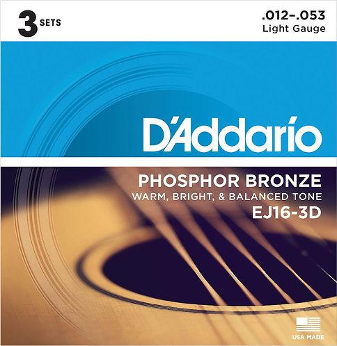 D'Addario EJ16-3D Phosphor Bronze Acoustic Guitar Strings Light 3 Sets