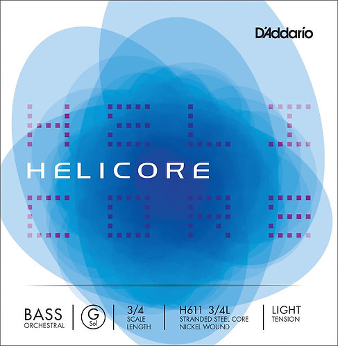 D'Addario Helicore Orchestral Bass SGL G String 3/4 Scale Light Tension