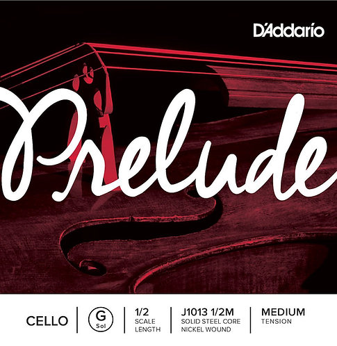 D'Addario Prelude Cello SGL G String 1/2 Scale Med Tension