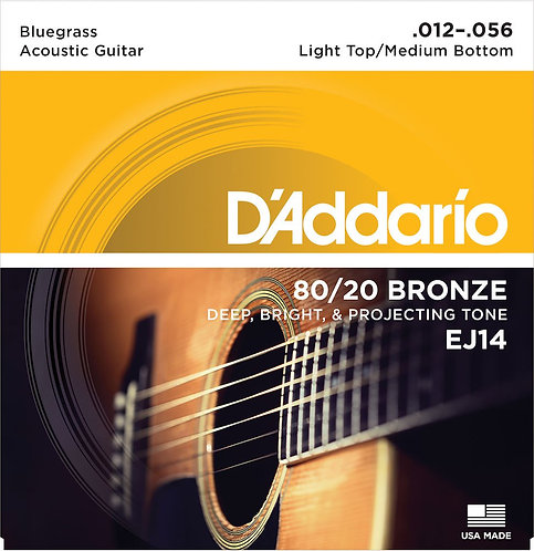 D'Addario EJ14 80/20 Bronze Acoustic Guitar Strings Light Top/Med BTM/Bluegr