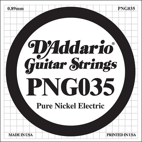 D'Addario PNG035 Pure Nickel Electric Guitar SGL String .035