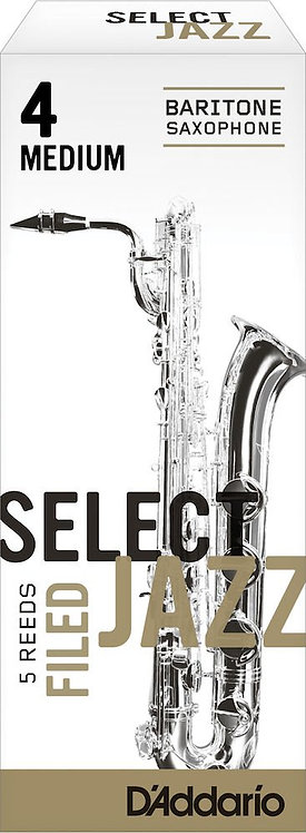 D'Addario Select Jazz Filed Baritone Saxophone Reeds Strength 4 Med 5-pack