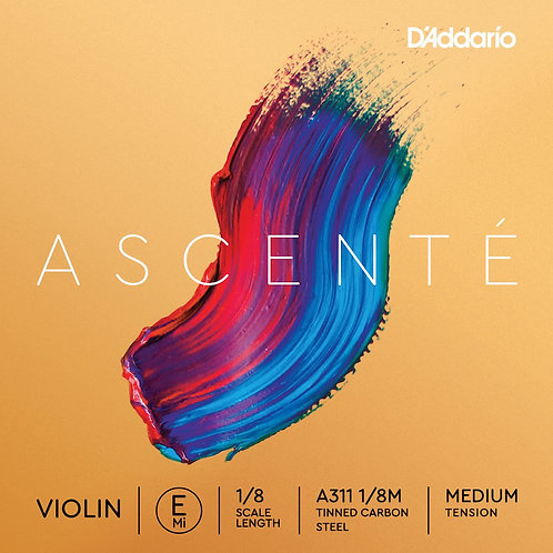D'Addario Ascent Violin E String 1/8 Scale Med Tension