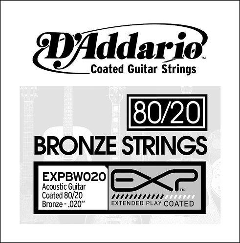 D'Addario EXPBW020 EXP Coated 80/20 Bronze SGL String .020